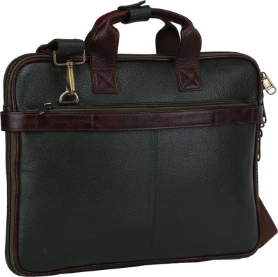 Bharat Leather Emporium 16 inch Expandable Laptop Messenger Bag Green