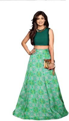 Jiva Printed Semi Stitched Lehenga Choli(Green)