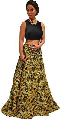 Jiva Printed Semi Stitched Lehenga Choli(Yellow)
