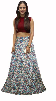 Viha Printed Semi Stitched Lehenga Choli(Maroon, Multicolor)