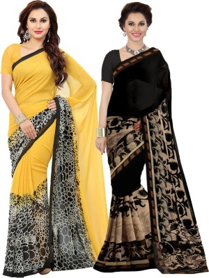 Ishin Printed Bollywood Faux Georgette Saree(Pack of 2, Yellow, Black) Flipkart