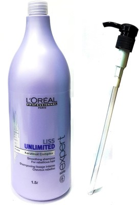 L'Oreal Set Of 2 (Liss Unlimited Smoothing Shampoo Dispensing Pump) 1500Ml(1500 ml)