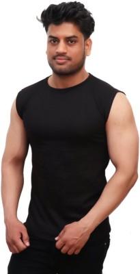 Geum Solid Men Round Neck Black T-Shirt