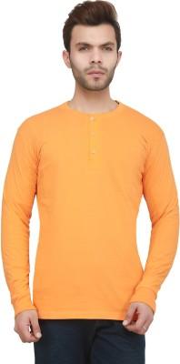 Jockey Solid Men Henley Yellow T-Shirt