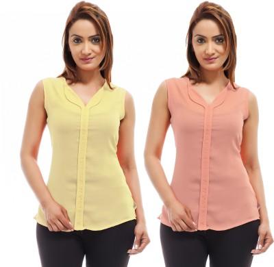 Femninora Casual Sleeveless Solid Women Orange, Yellow Top