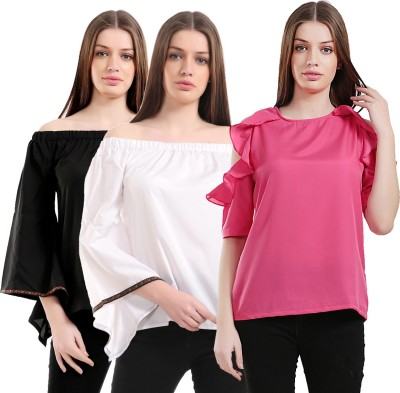 Christy World Casual 3/4th Sleeve Solid Women
