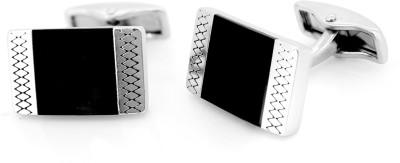 Nakabh Metal Cufflink Set(Black, Silver)