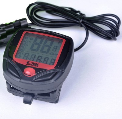 RIDER'S CHOICE 15 Function Bicycle wired speedometer with whatsapp guidance for installation RED ORIGINAL SB 318 Wired Cyclocomputer