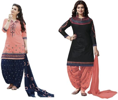 Shital Fashion World Cotton Embroidered, Self Design Semi-stitched Salwar Suit Dupatta Material
