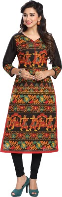 Ishin Women Embroidered A-line Kurta(Multicolor)