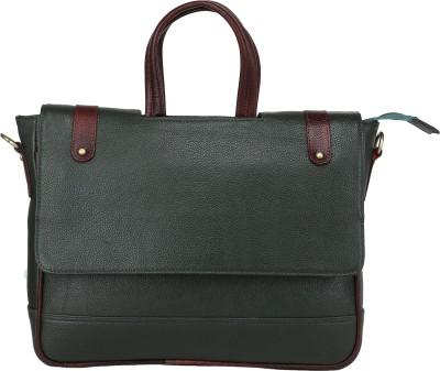 Bharat Leather Emporium 15 inch Expandable Laptop Messenger Bag Green