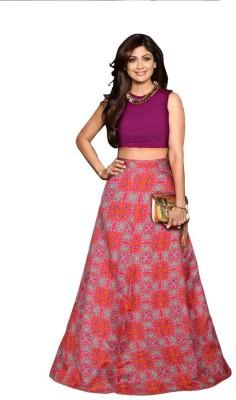 Jiva Printed Semi Stitched Lehenga Choli(Pink)