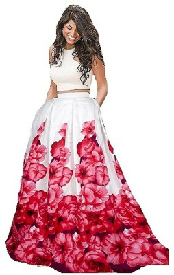 Viha Printed Semi Stitched Lehenga Choli(Red, White)