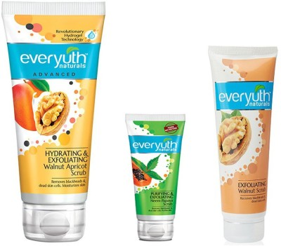 EVERYUTH NATURALS PURIFYING & EXFOLIATING NEEM PAPAYA SCRUB 25 GM + EXFOLIATING WALNUT SCRUB 50 GM + HYDRATING & EXFOLIATING WALNUT APRICOT SCRUB 100 GM Scrub(100 g)