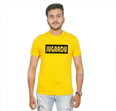 AMBAZ Printed Men's Round Neck Yellow T-Shirt