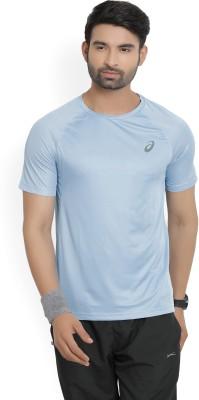 Asics Solid Men Round Neck Light Blue T-Shirt