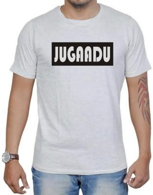 AMBAZ Printed Men's Round Neck Grey T-Shirt