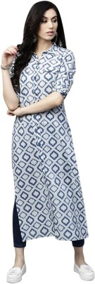 Aks Women Self Design, Printed Straight Kurta(Blue, White)