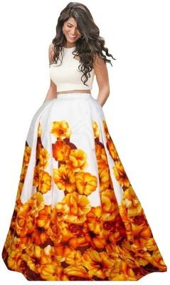 FABZONE Floral Print Semi Stitched Lehenga Choli(Yellow) 9769a5bd6