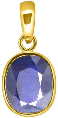 Tejvij And Sons 7.25 Ratti blue sapphire pendent panchdhatu with gold plated for men & women… Yellow Gold Sapphire Metal Pendant