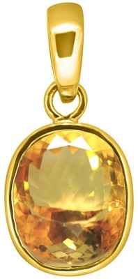 Tejvij And Sons 5.25 ratti sunela citrine panchdhatu pendent with gold plated for men & women… Yellow Gold Citrine Metal Pendant