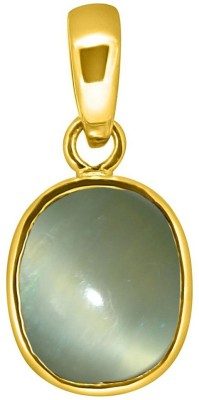 Tejvij and Sons 8.25 ratti natural cats eye lehsuniya panchdhatu pendent with Gold Plated For Men & Women… Yellow Gold Cat