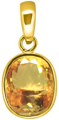 Tejvij And Sons 11.25 ratti sunela citrine panchdhatu pendent with gold plated for men & women… Yellow Gold Citrine Metal Pendant