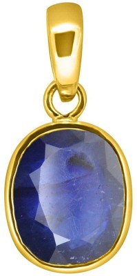 Tejvij And Sons 5.25 Ratti natural blue sapphire pendent panchdhatu with gold plated for men & women… Yellow Gold Sapphire Metal Pendant