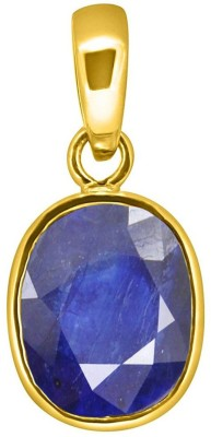 Tejvij And Sons 5.25 Ratti natural blue sapphire neelam pendent panchdhatu with gold plated for men & women… Yellow Gold Sapphire Metal Pendant