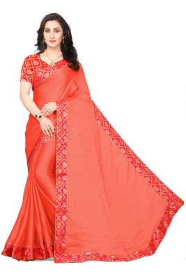 The Fashion Outlets Self Design, Embellished, Solid, Applique, Paisley, Striped, Checkered, Woven Bollywood Chiffon, Silk, Jacquard Saree(Orange)
