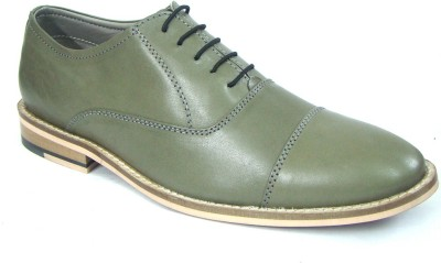 ASM Olive Green Leather Oxford Shoes Derby For Men(Green)
