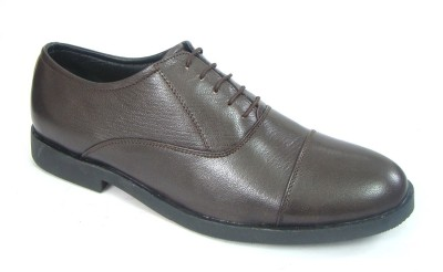 ASM Brown Pure Leather Oxford Shoes Lace Up For Men(Brown)