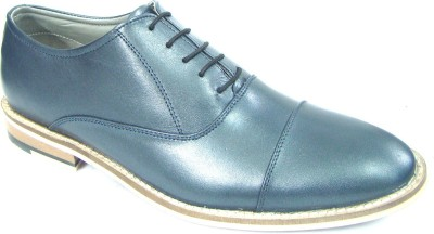 ASM Matt Blue Leather Oxford Shoes Lace Up For Men(Blue)
