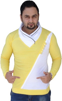 Black Collection Color block Men Asymmetric Yellow, White T-Shirt