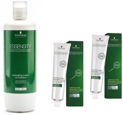Schwarzkopf Essensity Ammonia Free 4-68 Medium Brown Chocalate Red 60 mL(2 tube) + Essensity Oil Developer 1000 mL(Set of 3)