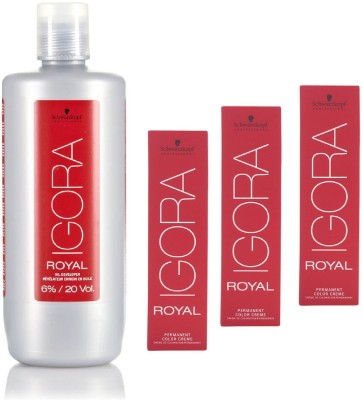 Schwarzkopf Igora Royal Permanent color crème 5-99 Light Brown violet Extra(3tube) 60mL+ Igora Oil Developer 1000 mL(Set of 4)