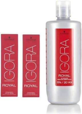 Schwarzkopf Igora Royal Permanent color crème 4-0 Medium Brown (2 tube) 60mL+ Igora Oil Developer 1000 mL(Set of 3)