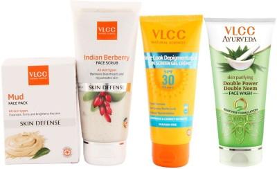VLCC Sun Screen, Face Scrub, Facewash and Face Pack Combo(Set of 4)