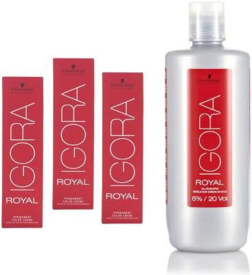 Schwarzkopf Igora Royal Permanent color crème 4-88 Medium Brown Red Extra(3 tube) 60mL+ Igora Oil Developer 1000 mL(Set of 4)