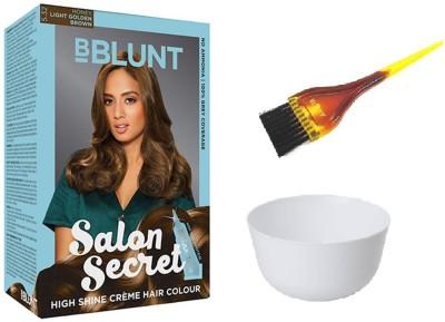 BBlunt Salon Secret High Shine Crem Hair Colour (5.32 Honey Light Golden Brown) With Mixing Bowl & 1 Dyeing Brush(Set of 3)