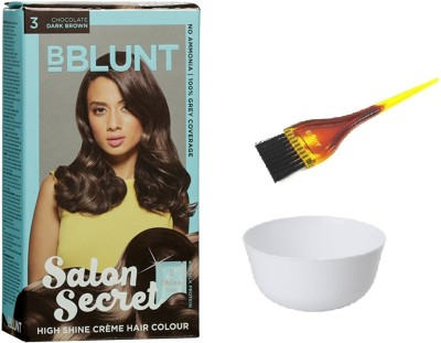 37b553bf8fc BBlunt Salon Secret High Shine Crème Hair Color (3 Chocolate Dark Brown)  with 1