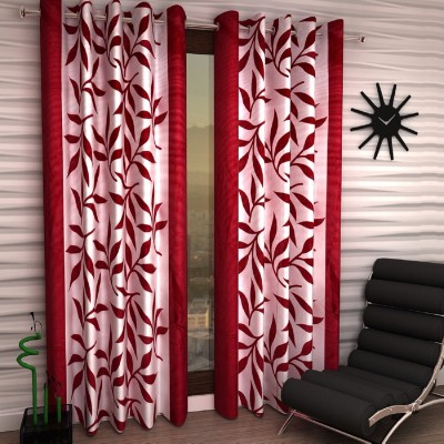 Fashion String 153 cm  5 ft  Polyester Window Curtain  Pack Of 2    Self Design, Maroon  Fashion String Curtains