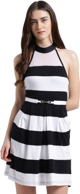 Texco Women Fit and Flare White, Black Dress