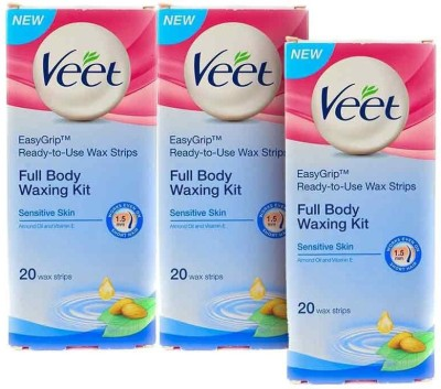 Veet Sensitive Skin Full Body Waxing Kit Strips(40 Strips)