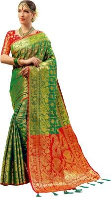 3278c979c69e4 73% OFF on EthnicJUnction Woven Banarasi Silk Saree(Green) on Flipkart