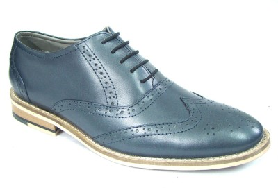 ASM Blue Punch Brogue Leather Shoes Lace Up For Men(Blue)