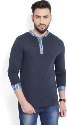 Billion PerfectFit Solid Men Henley Dark Blue T-Shirt