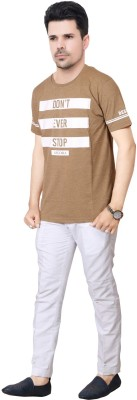 FABLUXURY Printed Men's Round Neck Brown T-Shirt