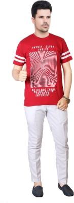 FABLUXURY Printed Men's Round Neck Red T-Shirt