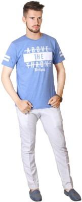 FABLUXURY Printed Men's Round Neck Blue T-Shirt